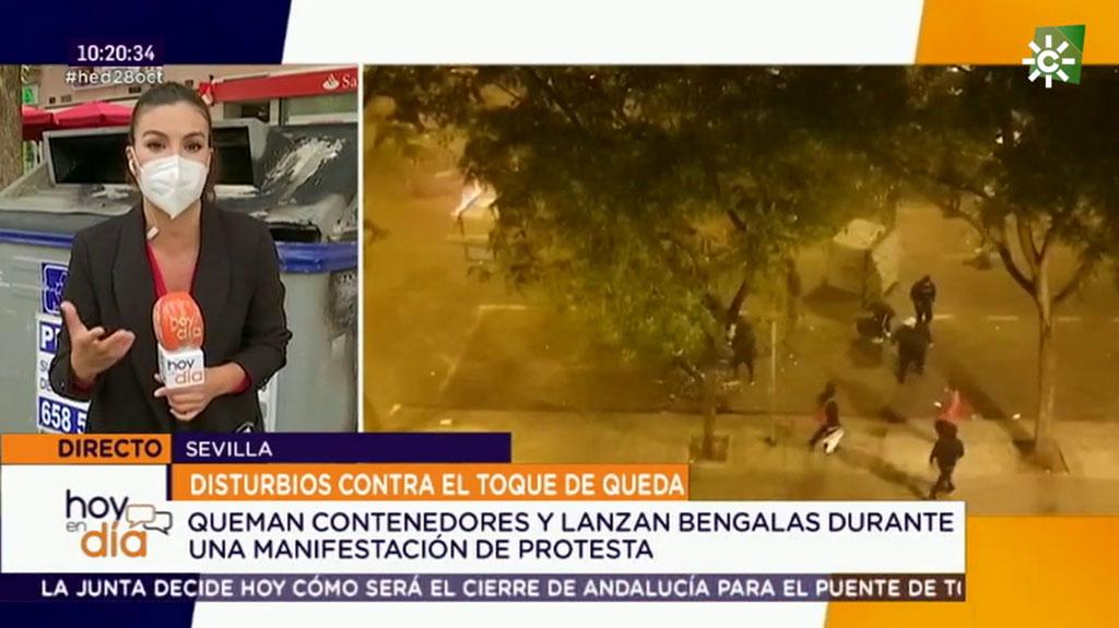Protesta violenta en Sevilla contra el toque de queda